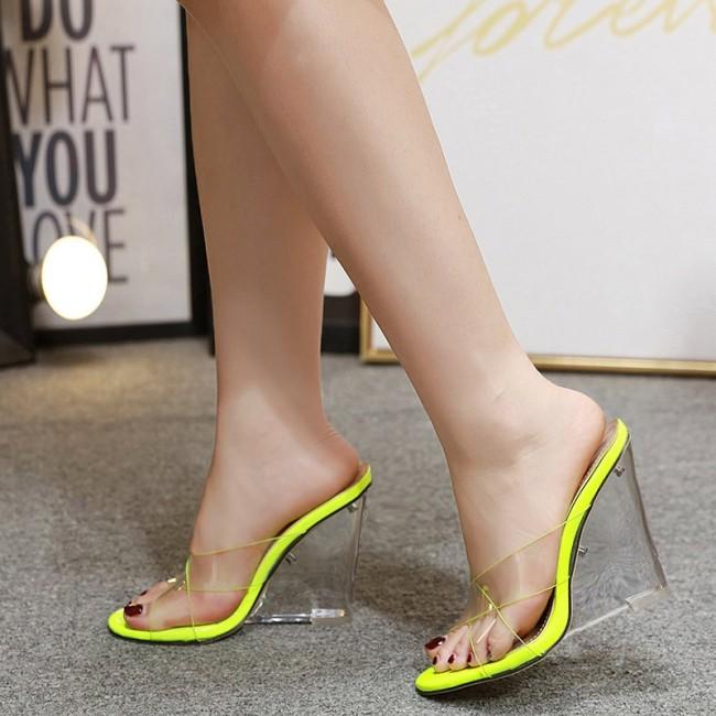 Women's Nude Transparent Wedge Heel