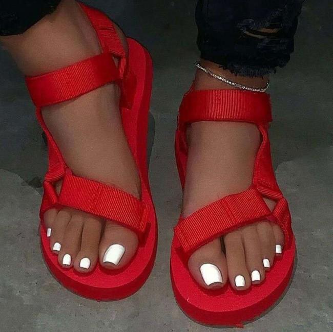 Women's Open-toe Flat Heel Slingback