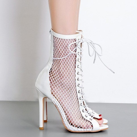 lace up heeled boots open toe