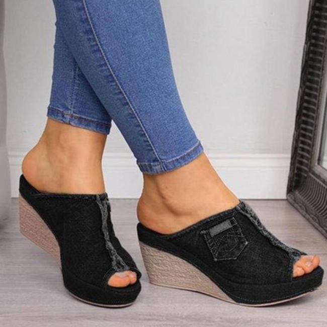 Peep Toe Wedge Heels