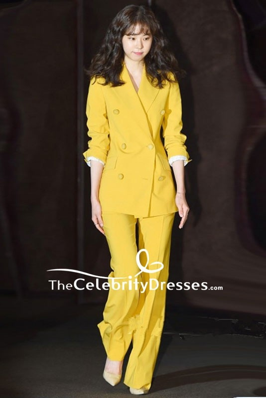 93190cf319a32 Yellow Celebrity Wide Leg Suit Long Pants For Sale - TheCelebrityDresses