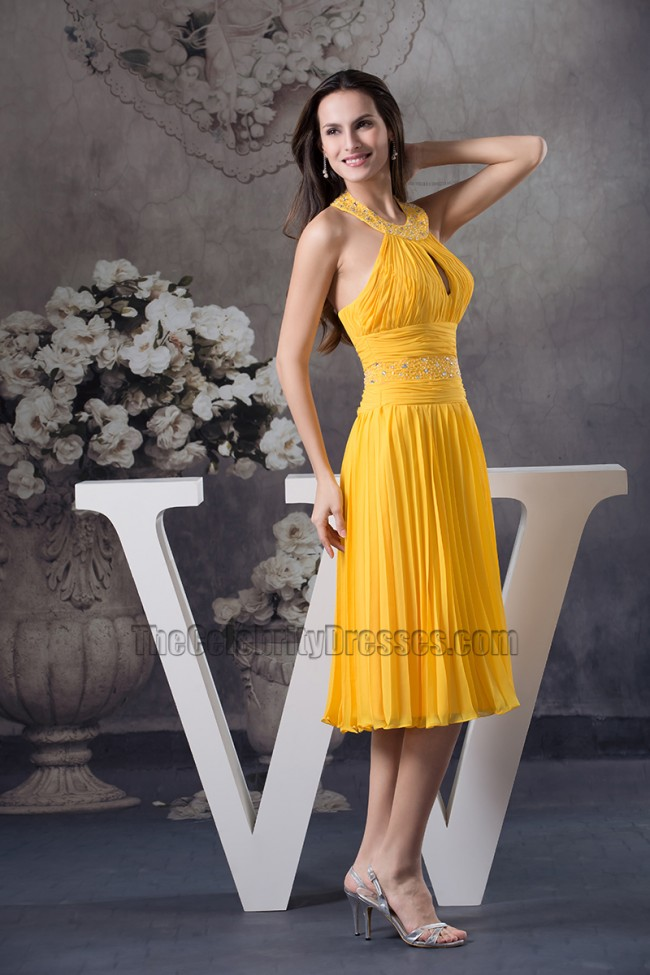 Yellow Knee Length Halter Chiffon Cocktail Bridesmaid