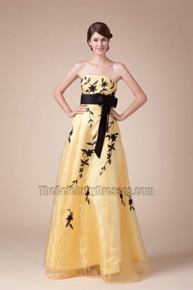 Yellow Strapless Embroidery Prom Dress Evening Formal Gown ...