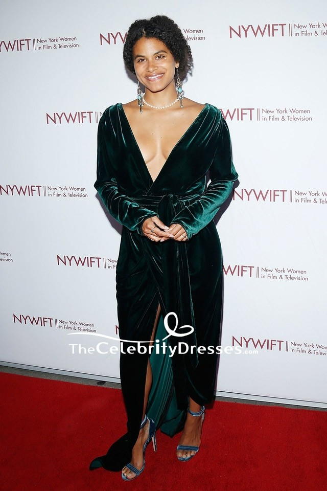 Zazie Beetz Dark Green Velvet Wrap Evening Dress Designing
