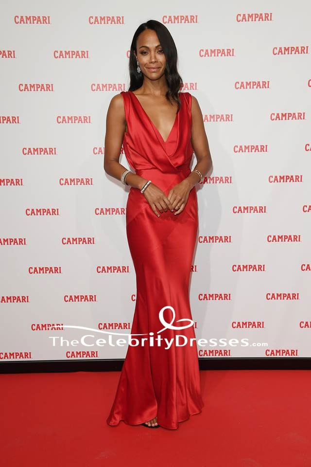 0a8099bd3b Zoe Saldana Red Evening Dress  Campari Red Diaries  Milan Premiere Gown