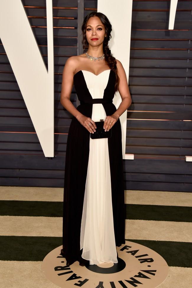 452c1a14e1 Zoe Saldana 2015 Vanity Fair Party Black White Chiffon Evening Dress ...