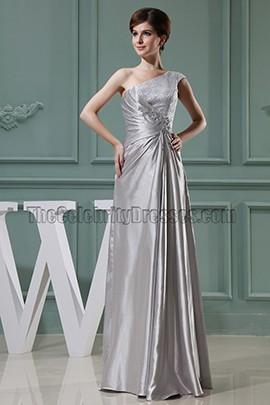 floor length silver cocktail dress