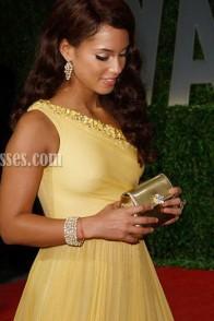 Alicia Keys Yellow One Shoulder Prom Dress Vanity Oscar Party