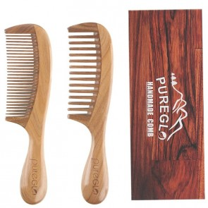 PureGLO Wide & Fine Tooth Natural Wooden Comb Set