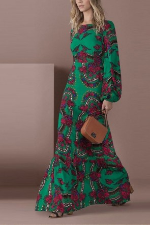 Vintage Scoop Long Sleeves Floral A-line Dress