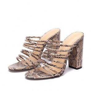 Snakeskin Print Strap Chunky Heel Sandals For Women