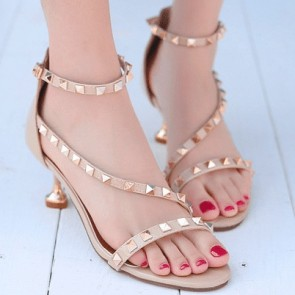 Open-toe Square Cup High Heels Sandals Shoes With Rhinestone