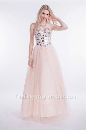 Strapless Sweetheart Sequined A-Line Lace Up Prom Dresses