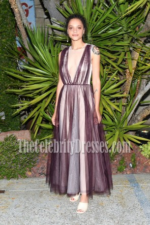 Sasha Lane Burgundy Semi-Sheer Prom Gown the H&M Conscious Exclusive Dinner