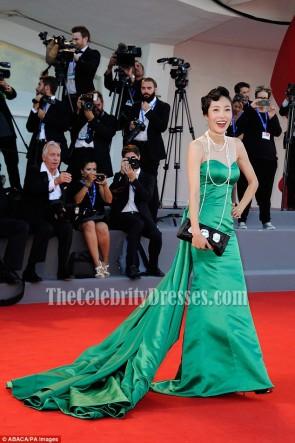 Liang Ke Green Long Train Strapless Evening Prom Gown 2016 Venice Film Festival TCD6775
