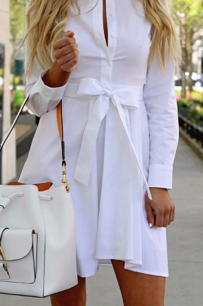 White Lapel Lace-up Shirt Dress