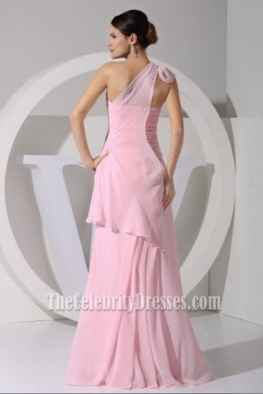 Celebrity Inspired Pink One Shoulder Prom Dress Evening Gown