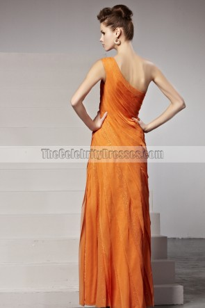 Celebrity Inspired Orange One Shoulder Formal Dress Evening Gown