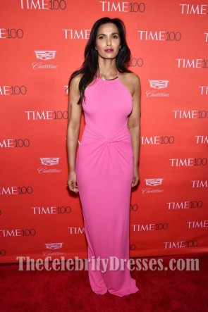 Padma Lakshmi Pink Halter Sleeveless sheath Dress 2017 Time 100 Gala