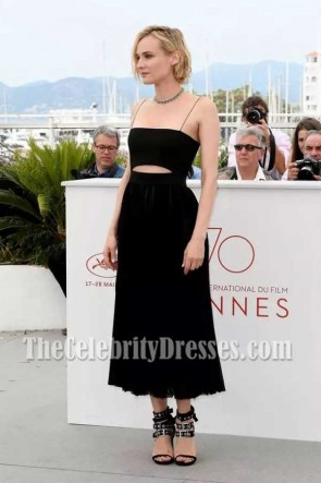 Diane Kruger Black Spaghetti Straps Cut Out Party Dress 2017 Cannes Film Festival TCD73479