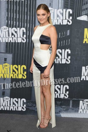 Kelsea Ballerini Black And Ivory Cut Out Thigh-high Slit Gown 2017 CMT Music Awards TCD7347