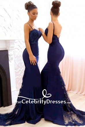 Dark Navy Trumpet/Mermaid Lace Spaghetti Straps Open-back Evening Dress