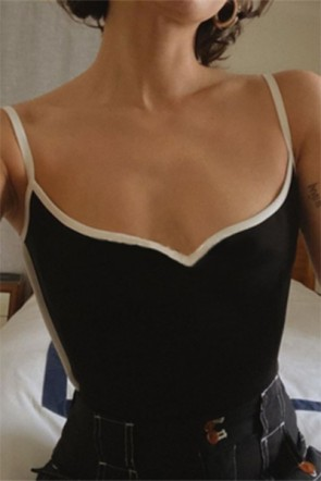 Kendall Jenner Black Sexy Stretch Cami Top