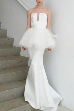 Elegant White Mermaid Strapless Prom Dress