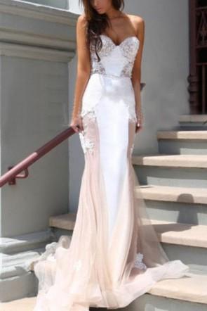 Sweetheart Strapless Applique Mermaid Prom Dress