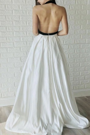 Deep V-neck Halter Backless A-line Evening Dress
