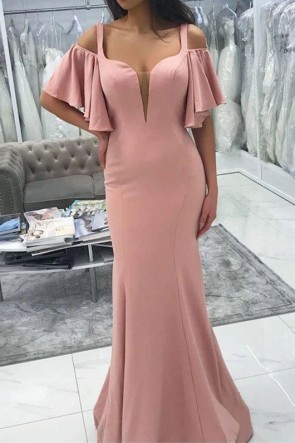 Elegant Pearl Pink V-neck Off-the-shoulder Mermaid Evening Dress