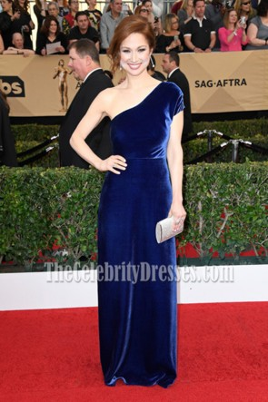 Ellie Kemper Royal Blue One Shoulder Velvet Evening Prom Gown 2017 SAG