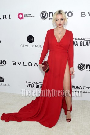 Caroline Vreeland  Red Long Sleeves High Slit Deep V Prom Gown 2017 Elton John AIDS Foundation's Academy Awards