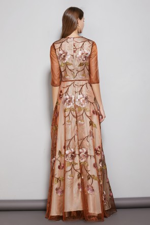 A-line Embroidery Long Dress With 1/2 Sleeves TCDTB8586