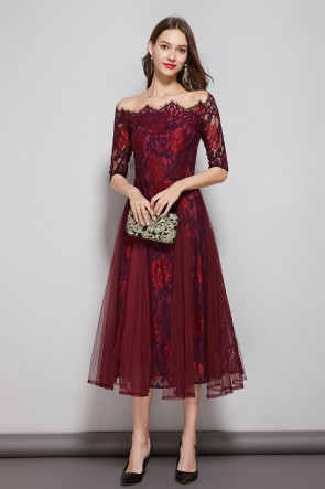 Burgundy A-line Bateau Tulle Lace Dress With 1/2 Sleeves