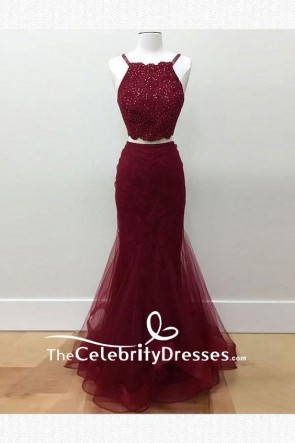 Burgundy Sexy Tulle Mermaid Sleeveless Two Pieces Prom Dress
