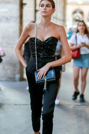 Kaia Gerber Black Sequin Top And Pants Set
