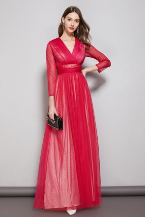 Rosy A-line Long Sleeves Tulle Prom Dress With V-neck