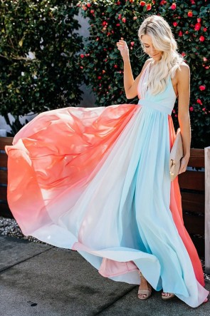 V-neck Tie Dye Maxi Dress