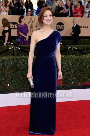 Ellie Kemper Royal Blue One Shoulder Velvet Evening Prom Gown 2017 SAG TCD7184