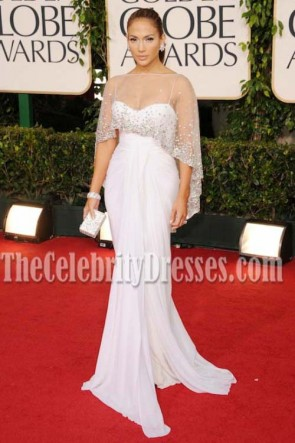 Jennifer Lopez 2011 Golden Globe Awards White Chiffon Dress