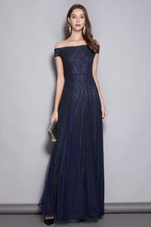 Dark Navy A-line Lace Off-the-shoulder Prom Dress