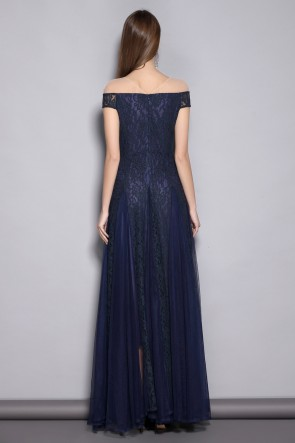 Dark Navy A-line Lace Off-the-shoulder Prom Dress TCDTB8368