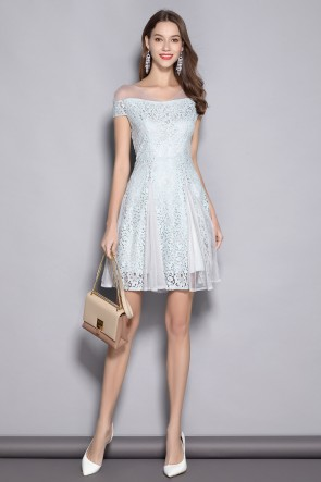 Short Fit And Flare Lace Off-the-shoulder Homecoming Dress