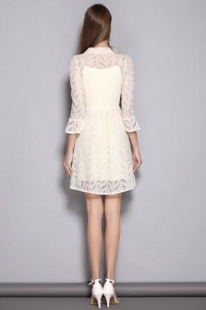 Short/Mini A-line Long Sleeves Ivory Homecoming Dress TCDTB8375
