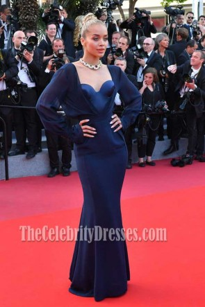 Jasmine Sanders Dark Navy Long Sleeves Strapless Corset Evening Dress 2017 Cannes Film Festival TCDFD7359