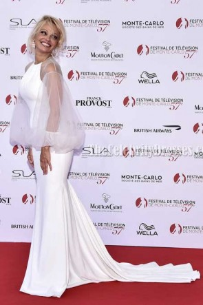Pamela Anderson White Tulle Sleeves Mermaid Evening Dress Monte Carlo TV Festival Opening Ceremony TCD7337