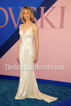 Meg Ryan Champagne Spaghetti Straps Sequins Mermaid Dress 2017 CFDA Fashion Awards TCD73478