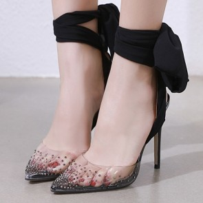 Women's Stiletto Heels Cap-Toe Shoes With Lace-up