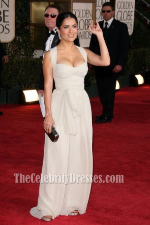 Salma Hayek Chiffon Red Carpet Evening Dress Golden Globe 2009 Celebrity Prom Dress